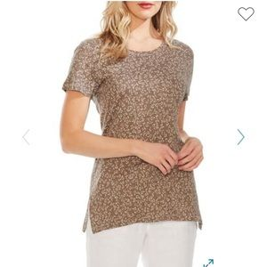 NWT Vince Camuto leafy calico linen blend tee M